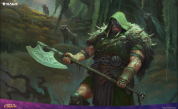 mtg, throne of eldraine, garruk cursed huntsman, art, dmitry burmak